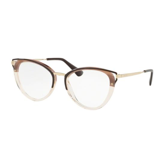 Prada PR  53UV Catwalk LMN1O1 Striped Brown | Eyeglasses Woman